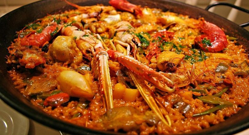 traditional paella in pan