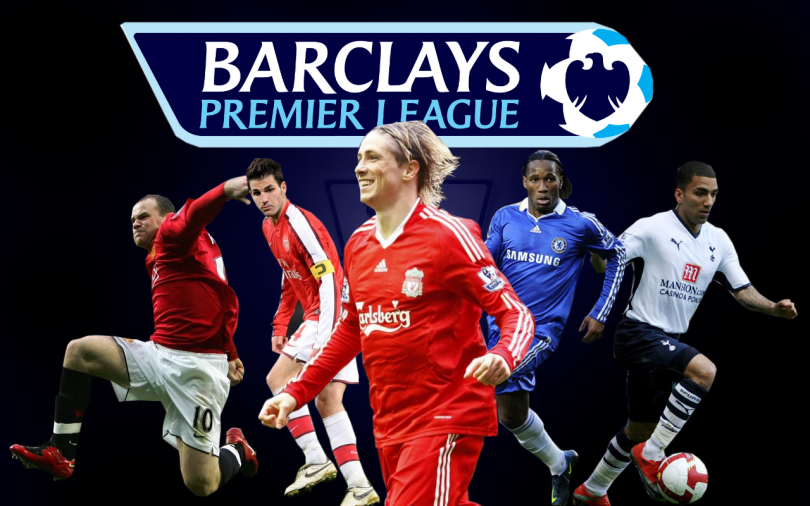 poster from barclays premier league with several football players