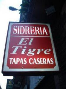 sign outside of El Tigre tapas bar Madrid
