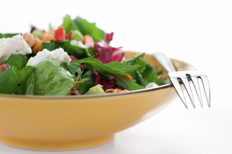 colourful salad on plate with fork