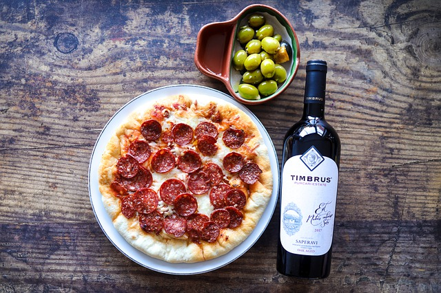 pizza, wine and olives
