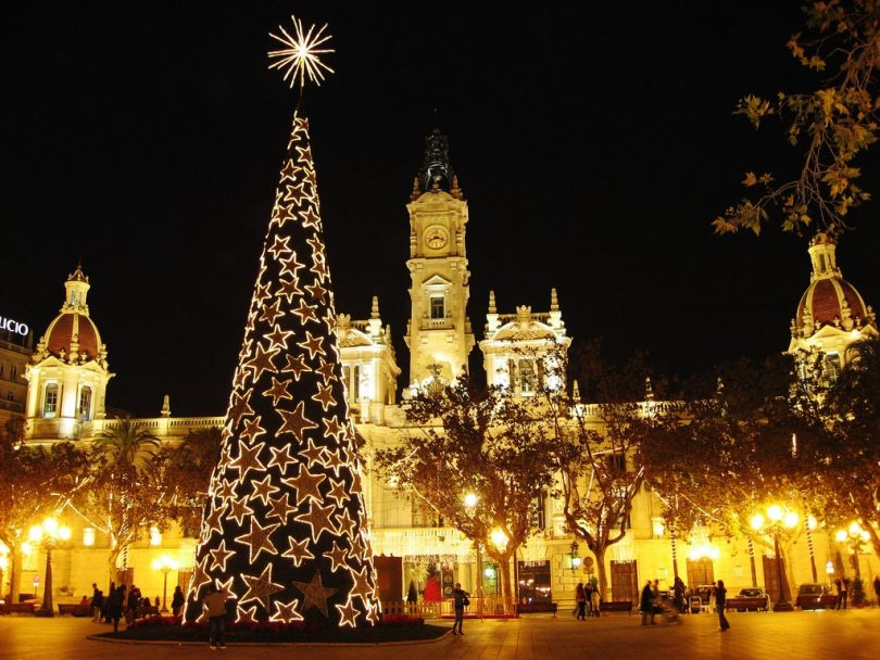 old building in Madrid with christmas tree