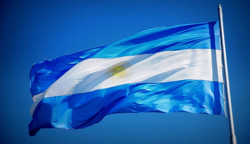 argentinian flag with blue sky