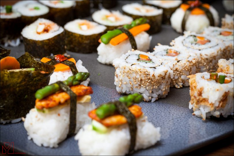 sushi on a grey plate