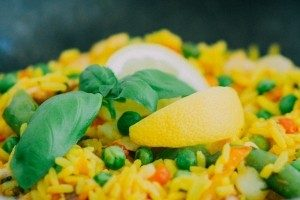 paella with saffron and lemon on top
