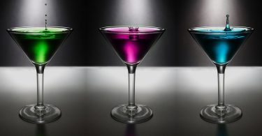 3 martini's on a bar