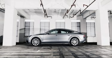 silver car parked in garage