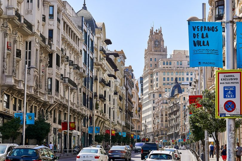 traffic on gran via in madrid