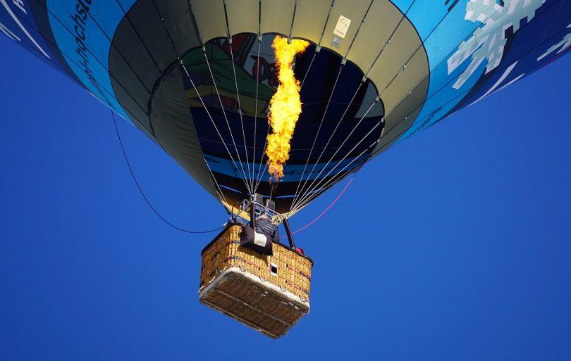 hot air balloon seen from below