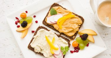 rye bread with two types of hummus