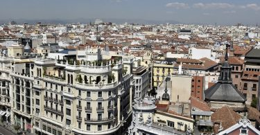 madrid view from above with large buildings