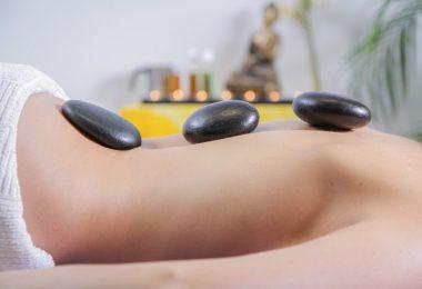 hot stone massage on body