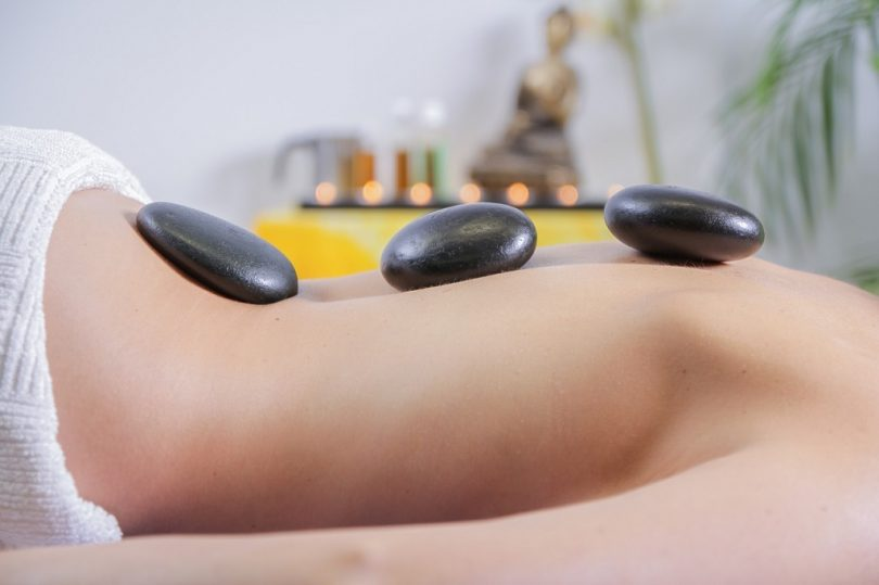 hot stone massage on body