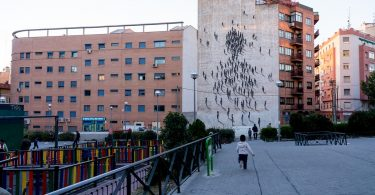 apartment buildings and playground in madrid