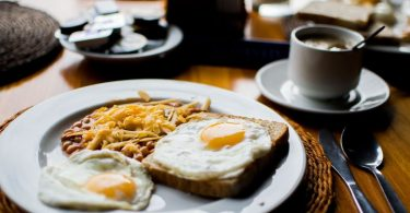 plate with eggs and toast