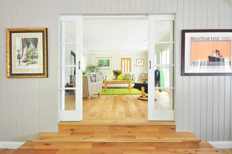 living room with en suite doors to hall
