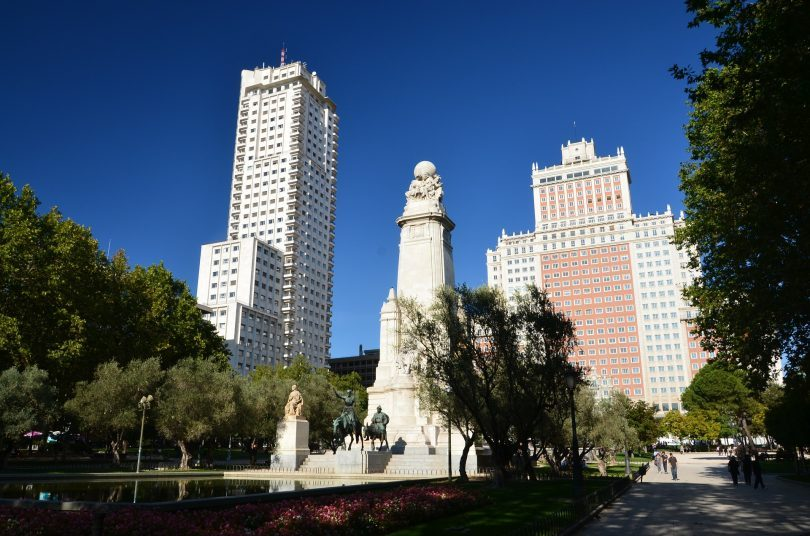 madrid buildings with park in front