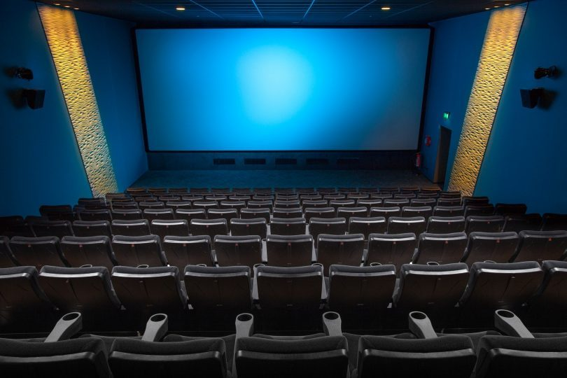 movie theatre with blue screen