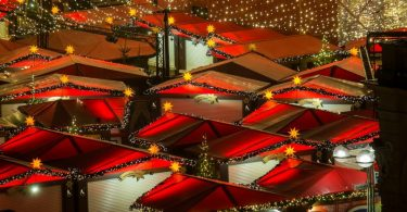 red roofs and christmas lights