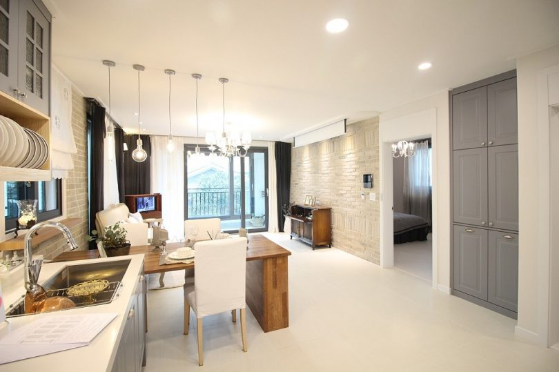 modern home with large kitchen