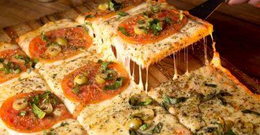 pizza sliced in squares