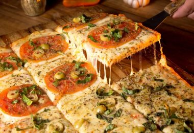 pizza sliced in squares