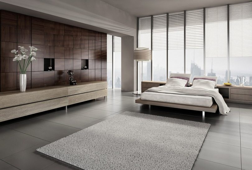 modern bedroom with light colours