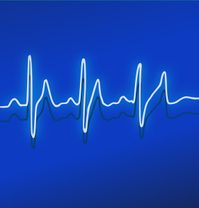 white heartline with blue background