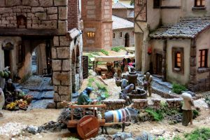 nativity scene recreated with houses and people