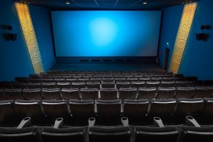 interior of cinema with blue screen