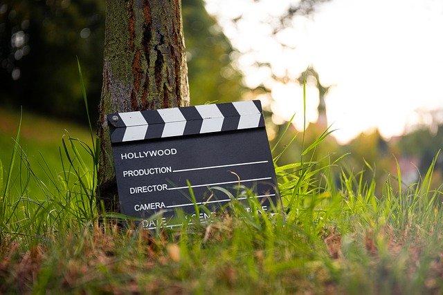 movie board in grass