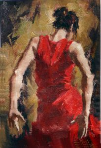 painting of the back of a female flamenco dancer