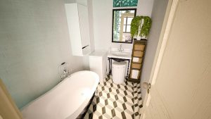bathroom with bath tub, tiled floor and mirror