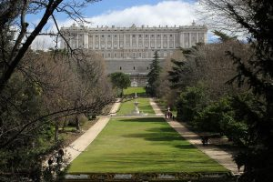 royal palace with garden in madrid