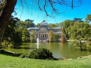 crystal palace with pond and garden in madrid