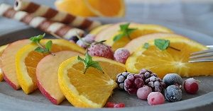 fruit platter with orange and berries