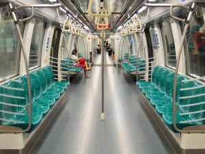 interior metro with green chairs