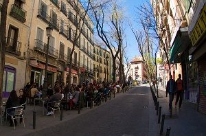 street in la latina district in madrid