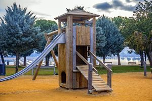 playground with wooden structures
