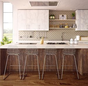 modern kitchen with wooden floors