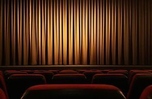 cinema with brown curtains