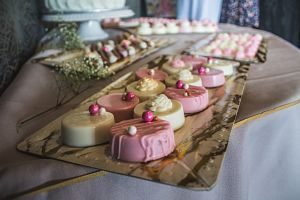 sweet desserts in pink and white