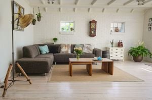 modern living room with brown couch