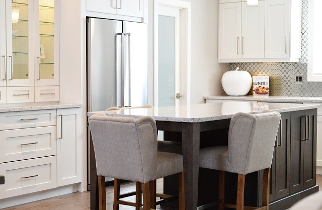 modern kitchen with high chairs