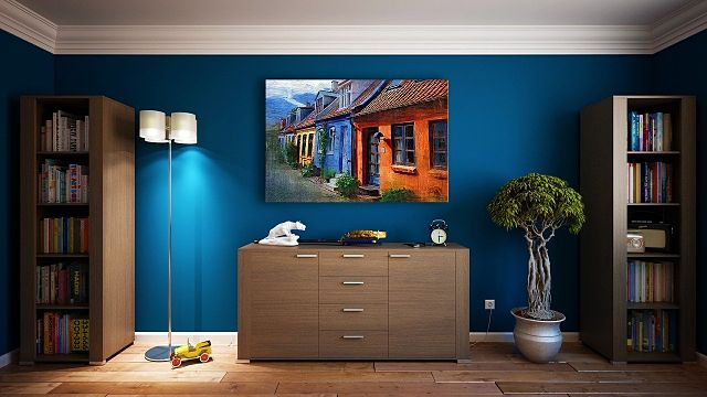 blue wall with painting